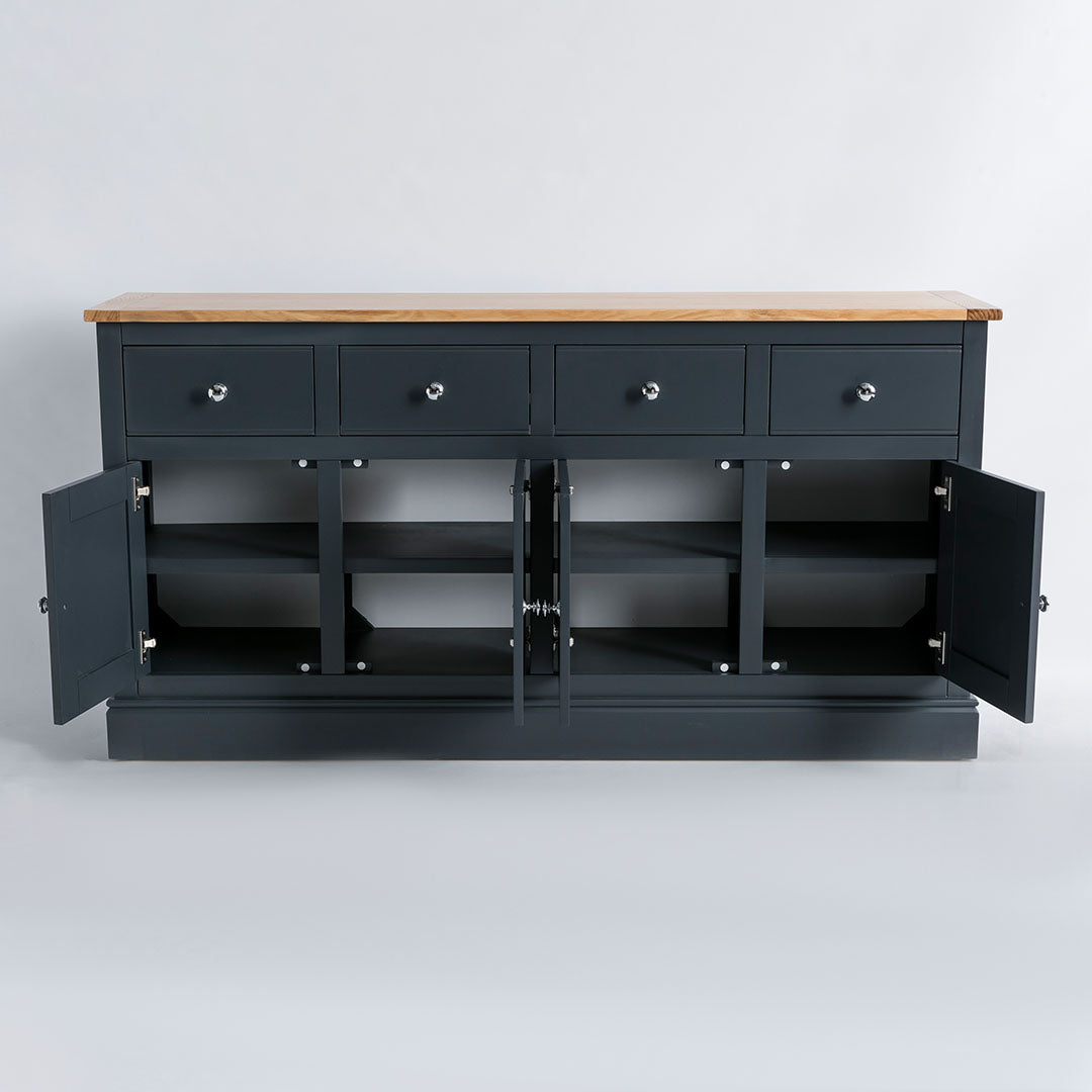 Internal view of the Chichester Charcoal Extra Large Sideboard