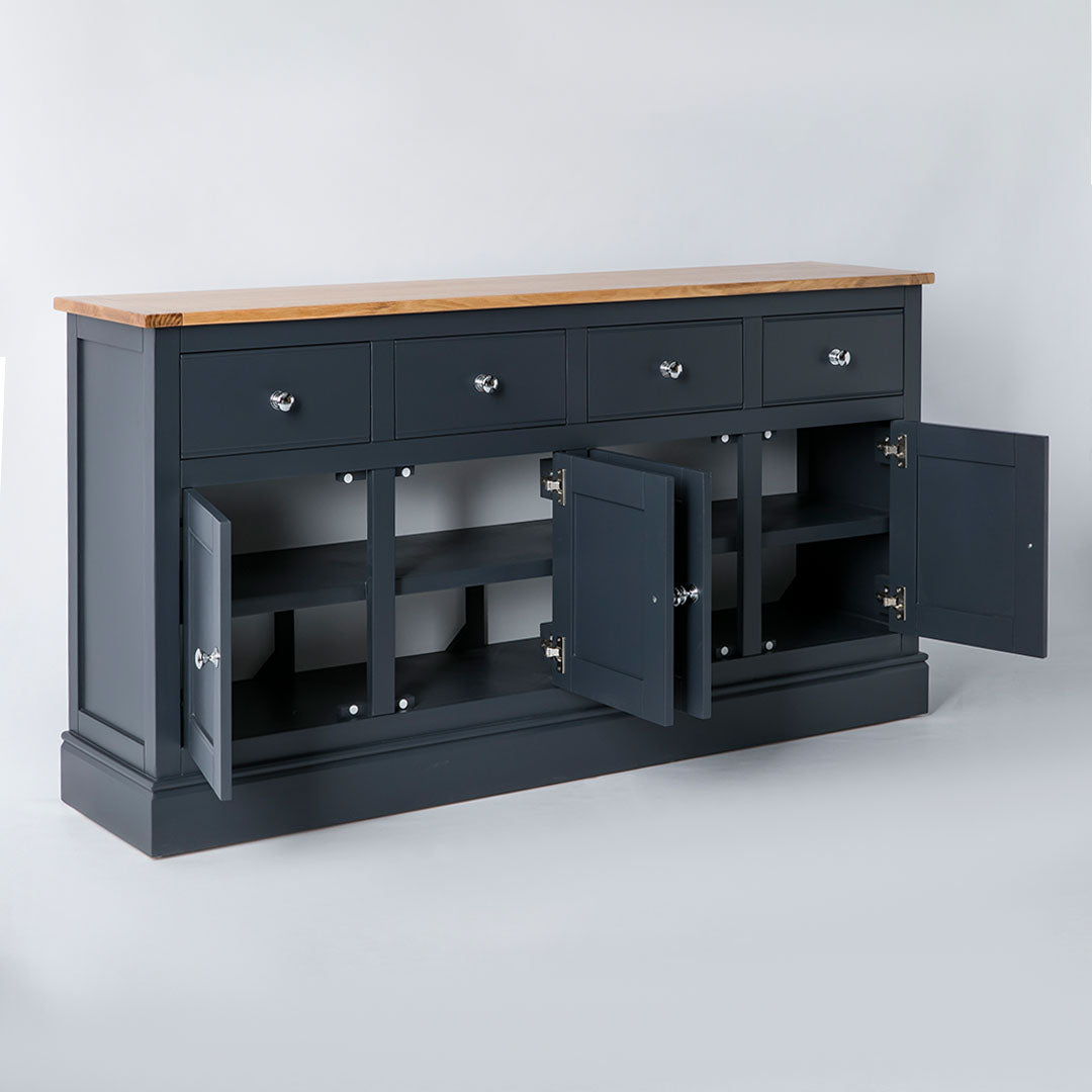 Opened door view of the Chichester Charcoal Extra Large Sideboard Cabinet