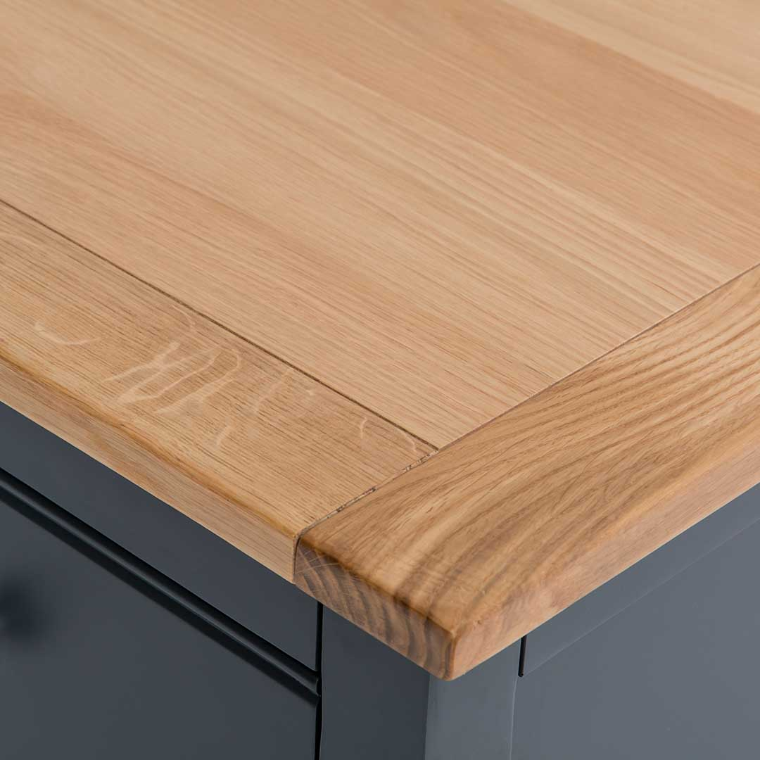 Close up of the oak top corner on the Chichester Charcoal Extra Large Sideboard