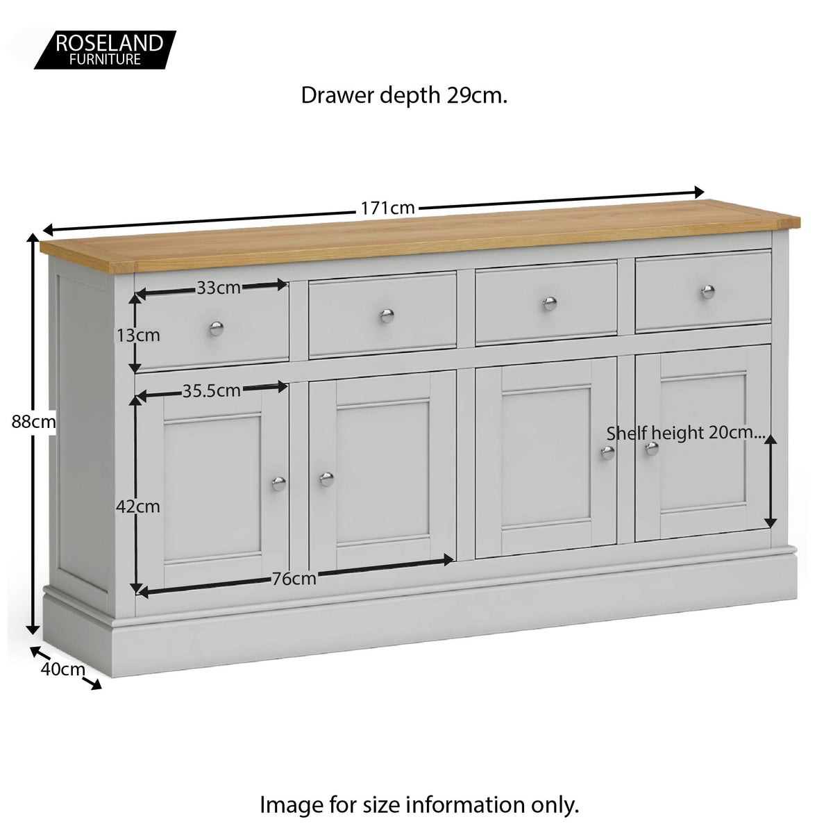 Chichester Extra Large Soft Grey Sideboard - Size guide