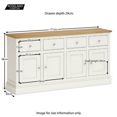 Chichester Extra Large Ivory Sideboard - Size guide