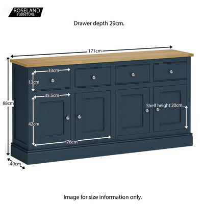 Chichester Extra Large Stiffkey Blue Sideboard - Size guide
