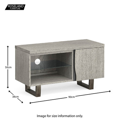 Soho Small 90 cm TV Stand with Glass Shelf - size guide
