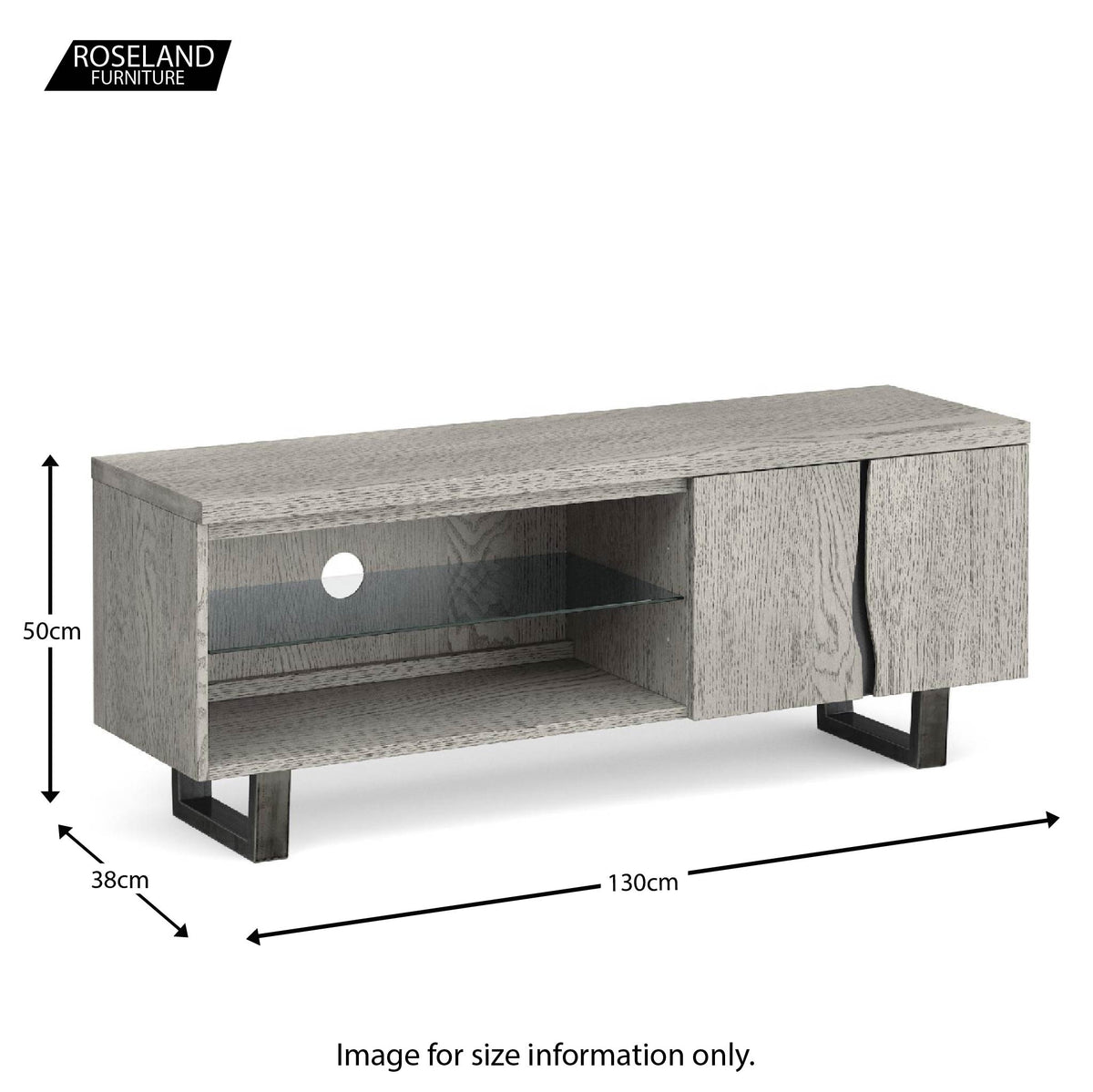 Soho Large 130 cm TV Stand with Glass Shelf - size guide