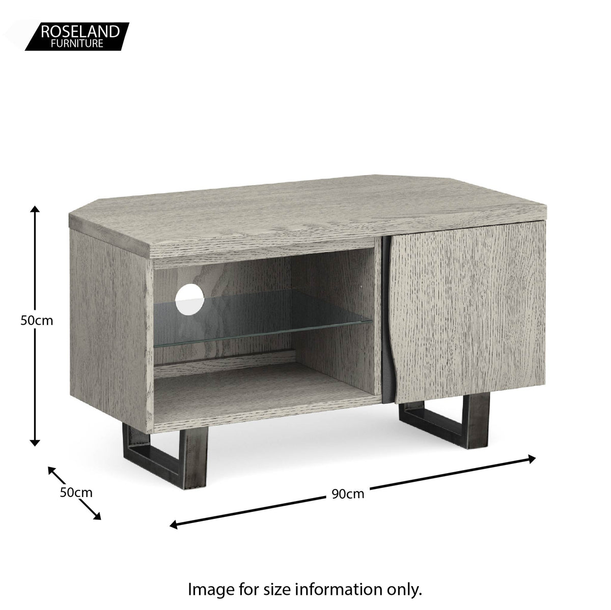 Soho Corner TV Stand with Glass Shelf - size guide