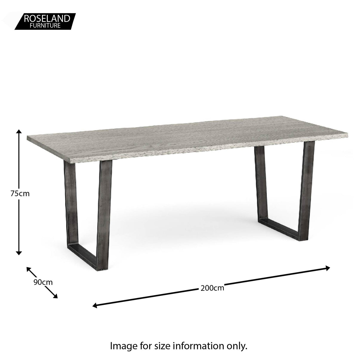 Dimensions for The Soho Large Industrial Grey Dining Table 200cm