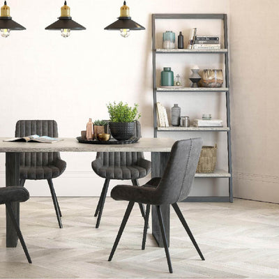 Lifestyle image of The Soho Large Industrial Grey Dining Table with Oak Top and Metal Legs