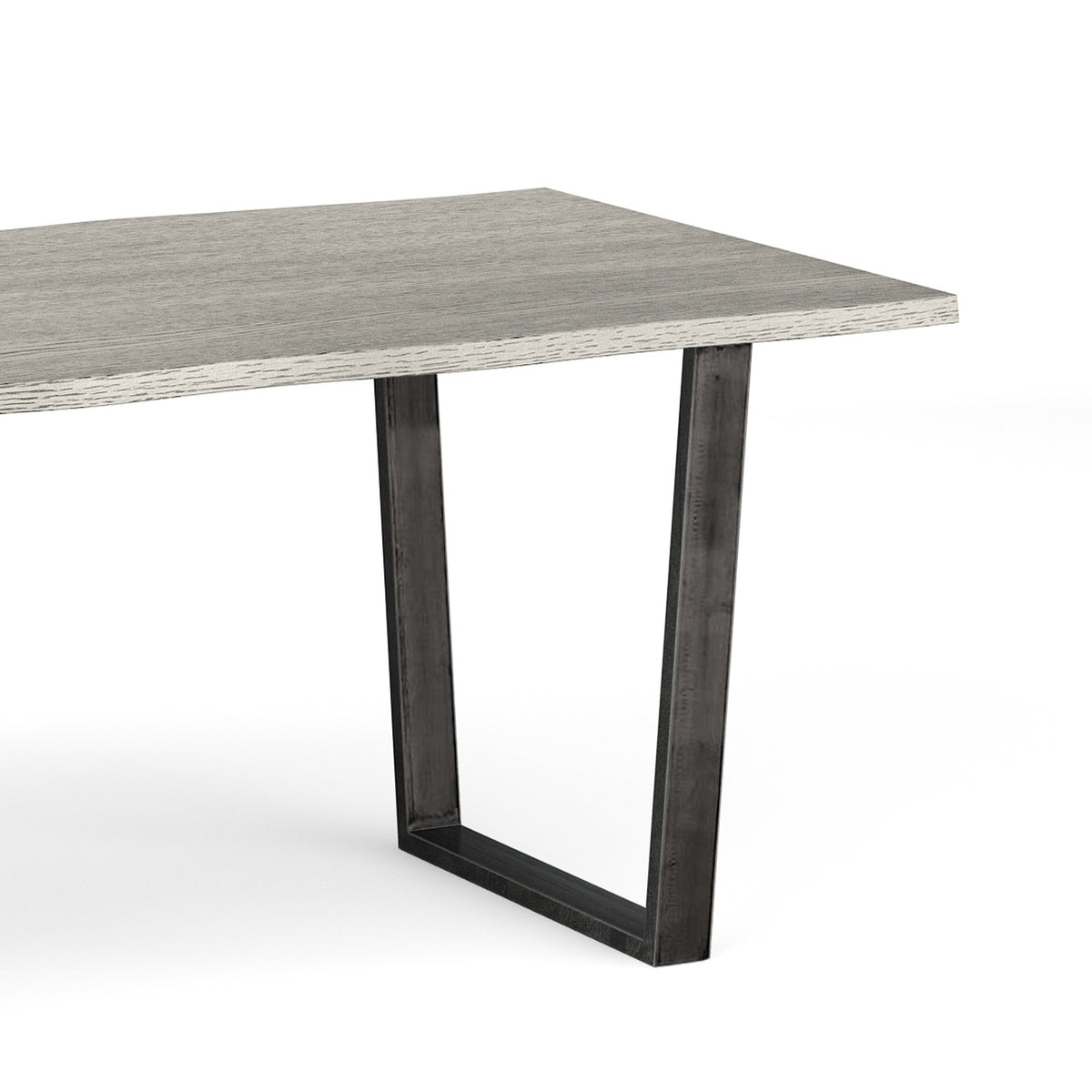 Soho Large Industrial Grey Dining Table - Close up of Oak Top and Metal Legs