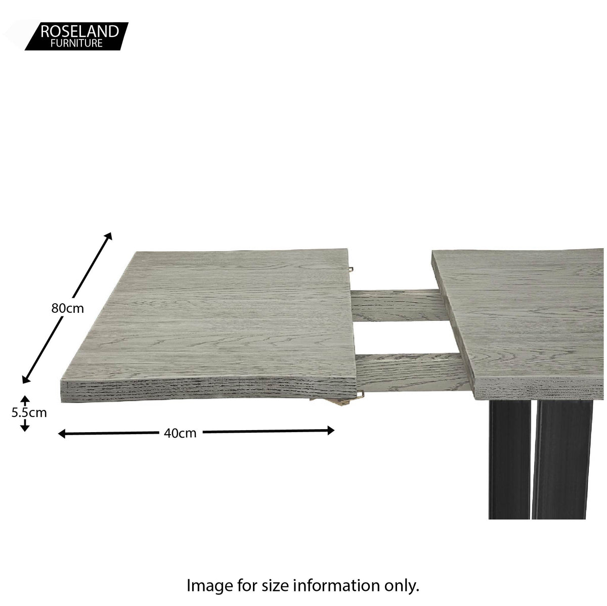 Dimensions for the Soho Grey Wooden Dining Table Extension Leaf
