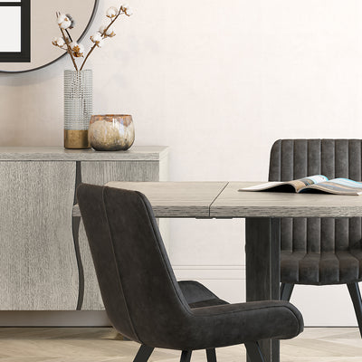 Soho Large Industrial Grey Dining Table with Table extension