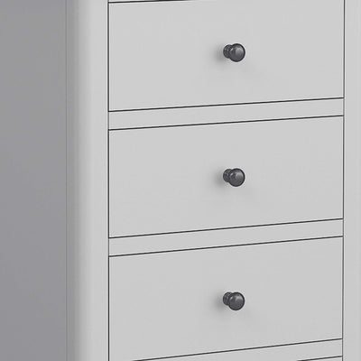 close up of gunmetal handles on the Elgin Grey Tallboy Chest of Drawers