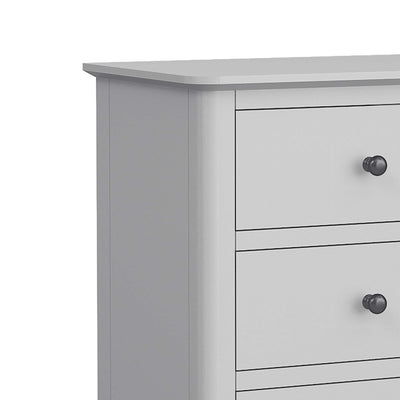 close up of sleek tabletop on the Elgin Grey Tallboy Chest of Drawers
