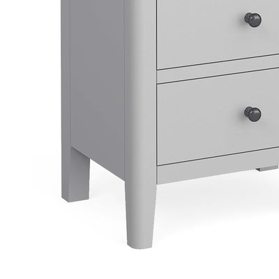 close up of tapered legs on the Elgin Grey Tallboy Chest of Drawers