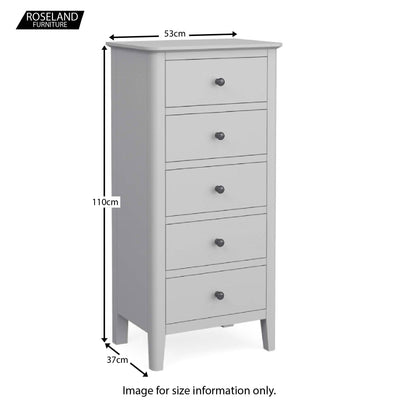 Elgin Grey Tallboy Chest of Drawers size guide