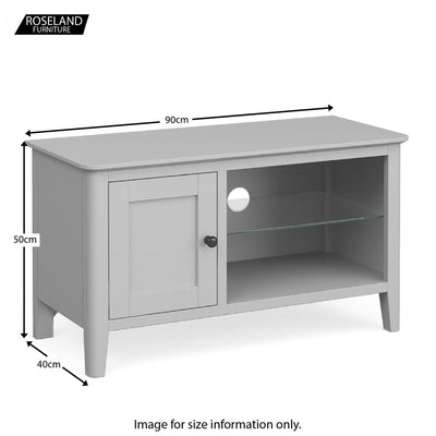Elgin Grey 90cm Small TV Unit size guide