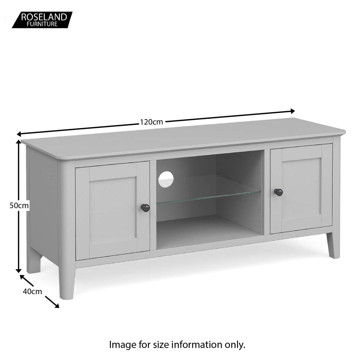 Elgin Grey 120cm large TV stand size guide