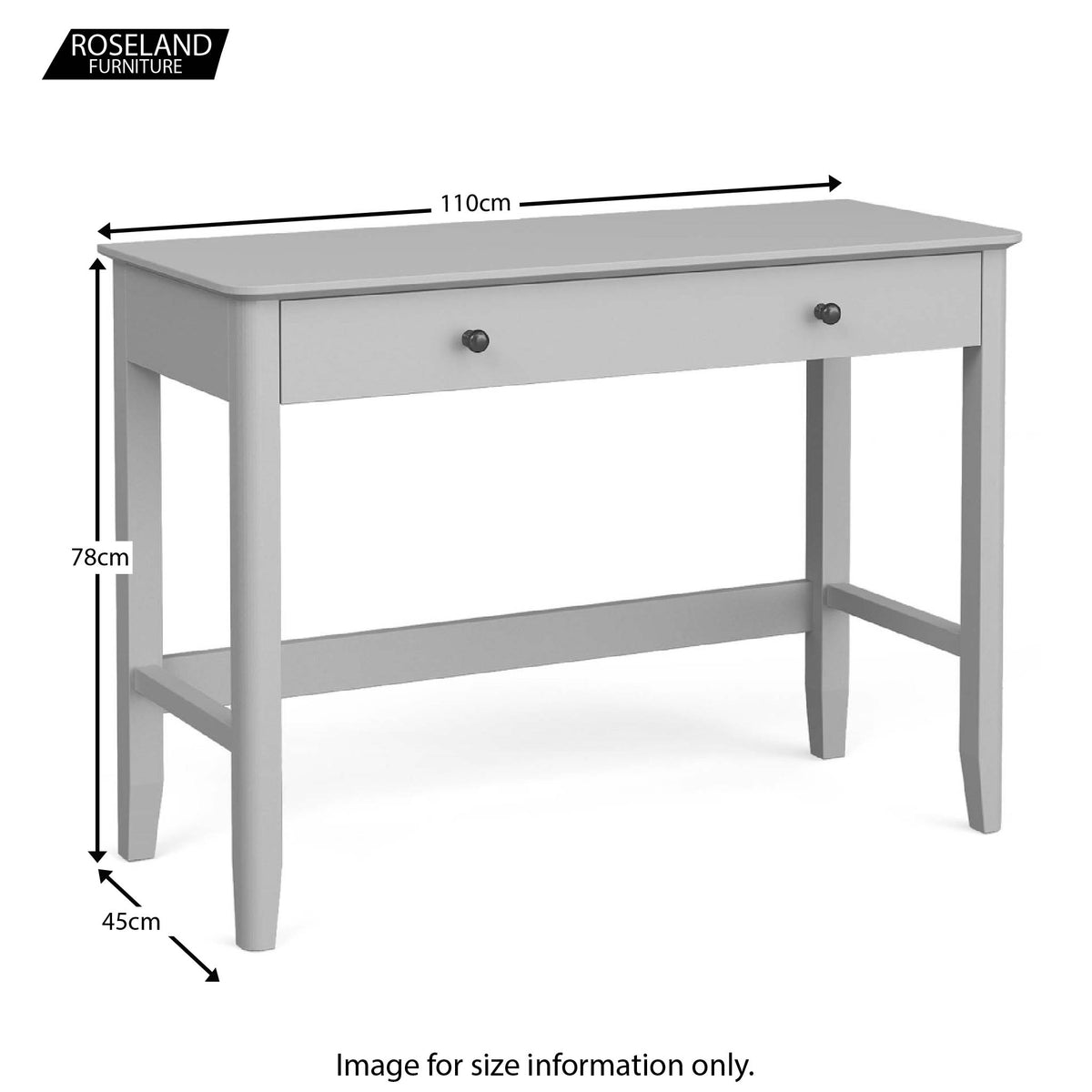 Elgin Grey Home Office Desk size guide