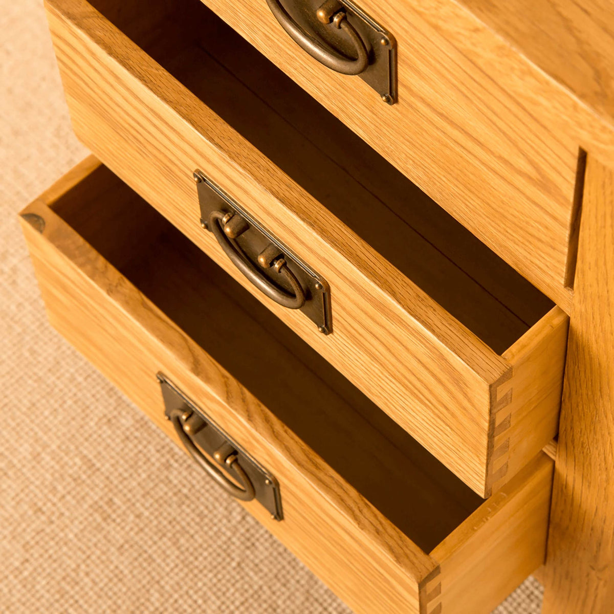 Lanner Oak Bedside Table top view of drawers