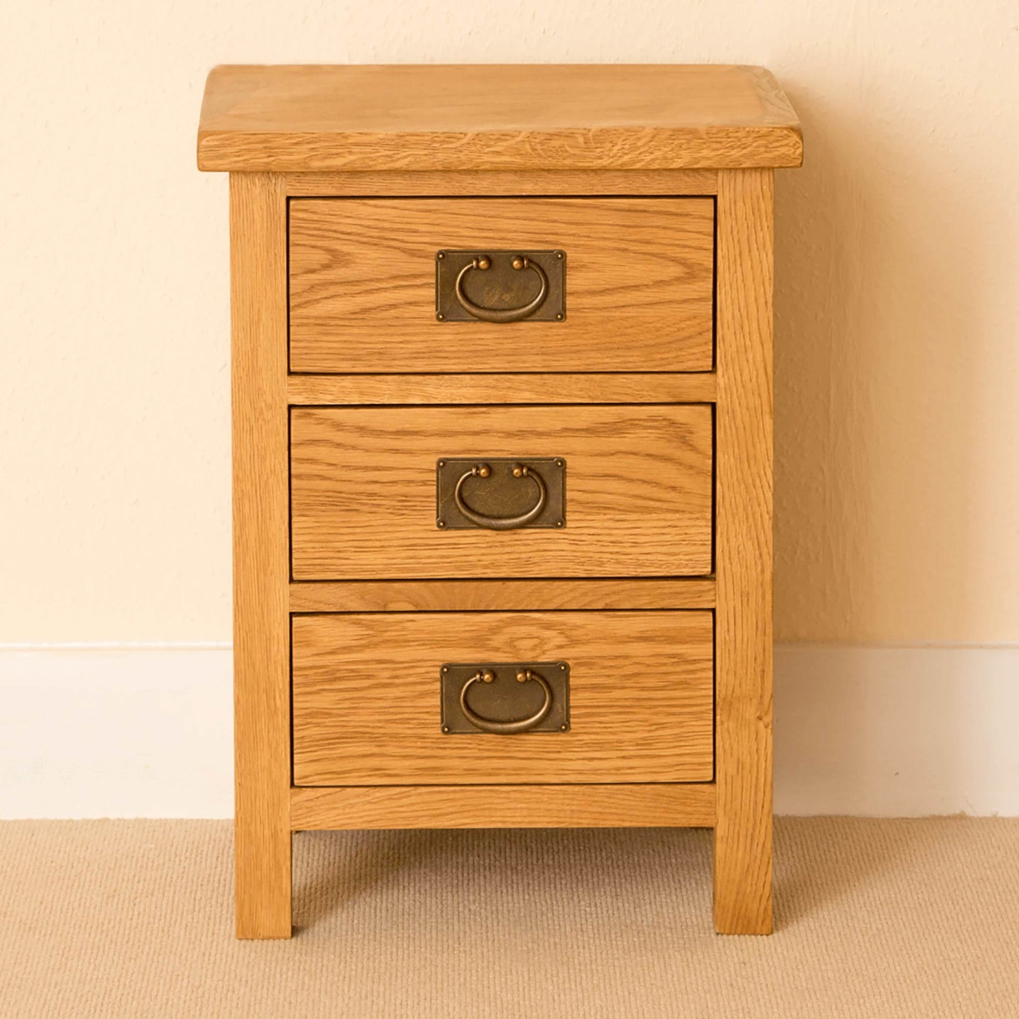 Lanner Waxed Oak Bedside Table 3 Drawer Chest Solid Wood Rustic Roseland Furniture