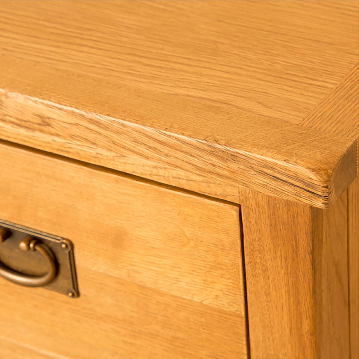 Lanner Oak 3 over 4 Drawer Chest front corner view