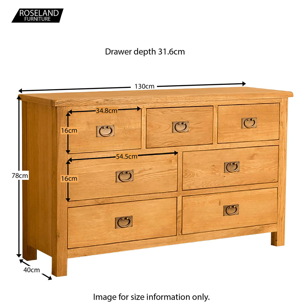 Lanner Oak 3 over 4 Drawer Chest of Drawers - Size Guide