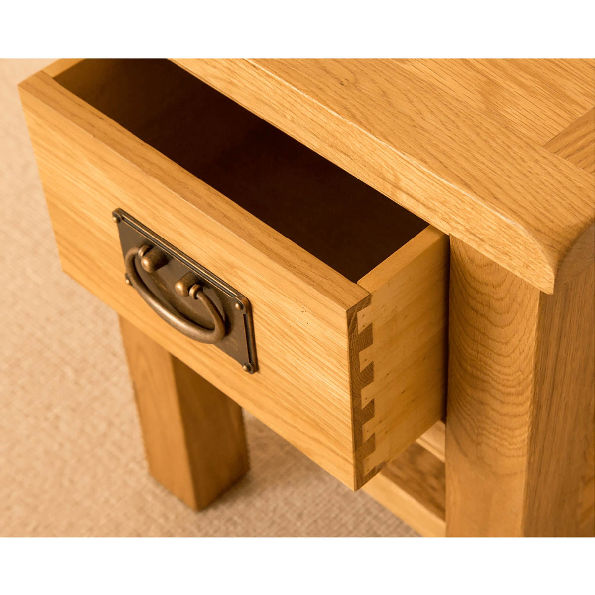Lanner Oak Lamp Table drawer dovetail joint view
