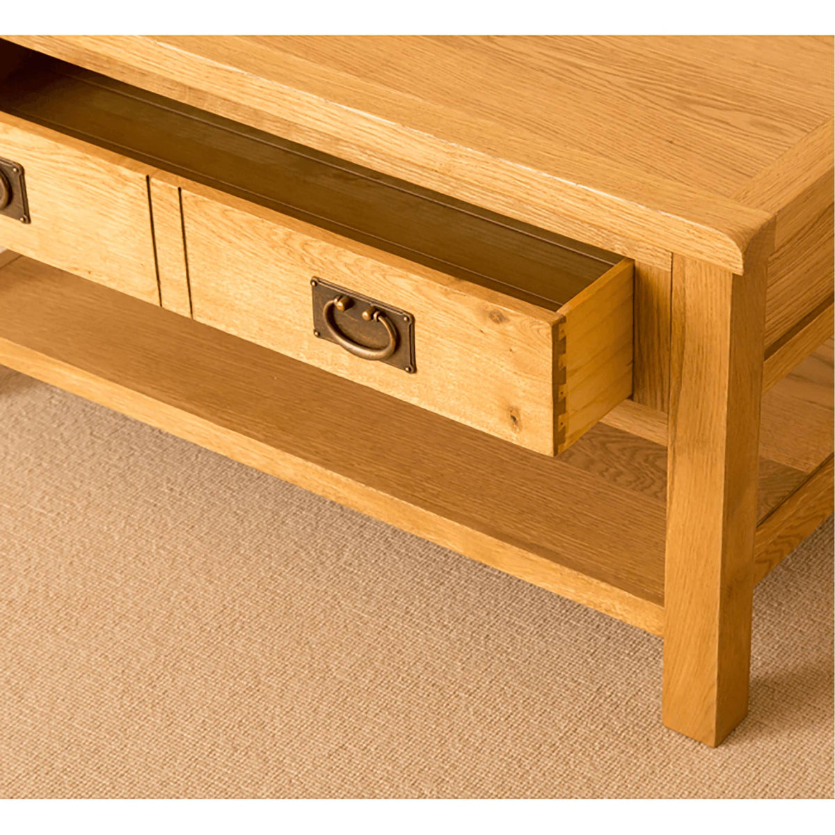 Lanner Oak Coffee Table with drawers open