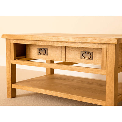 Lanner Oak Coffee Table drawer section view
