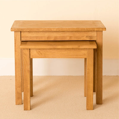 Lanner Oak Nest of Tables front view