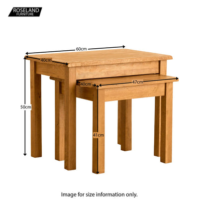 Lanner Oak Nest of Tables - Size Guide