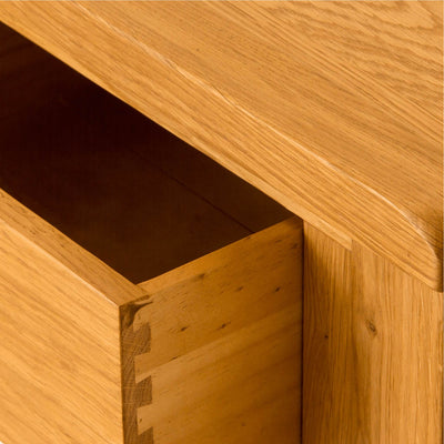Lanner Oak Console Table drawer close up