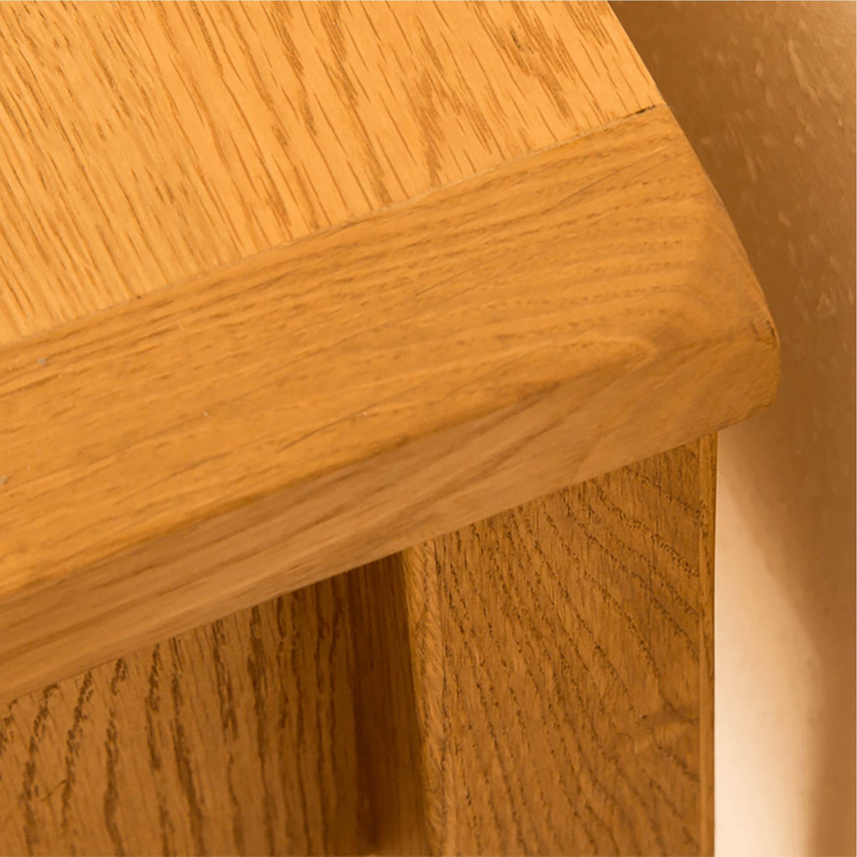 Lanner Oak Console Table top back corner view