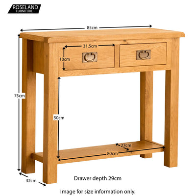 Lanner Oak Console Table - Size Guide