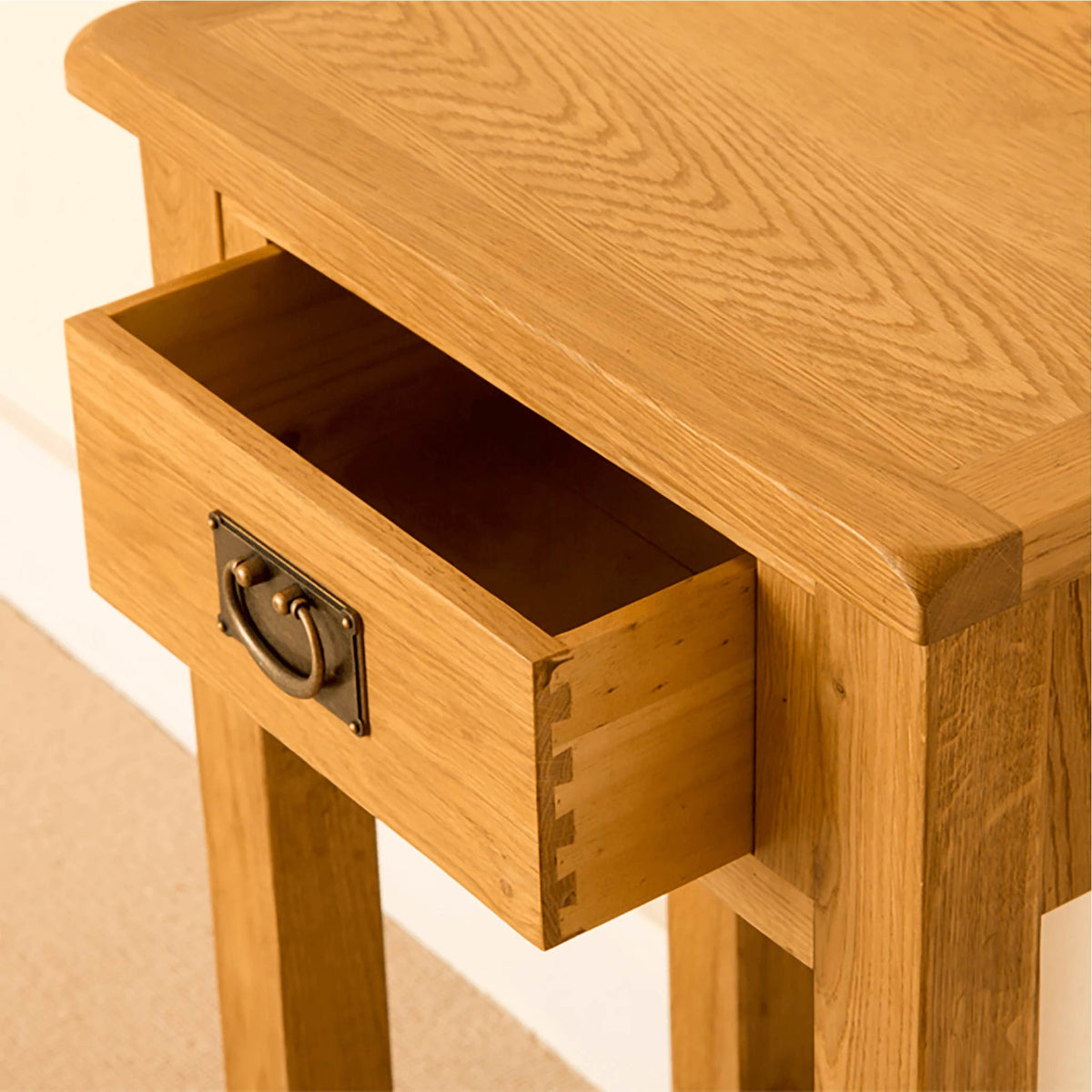 Lanner Oak Telephone Table drawer view