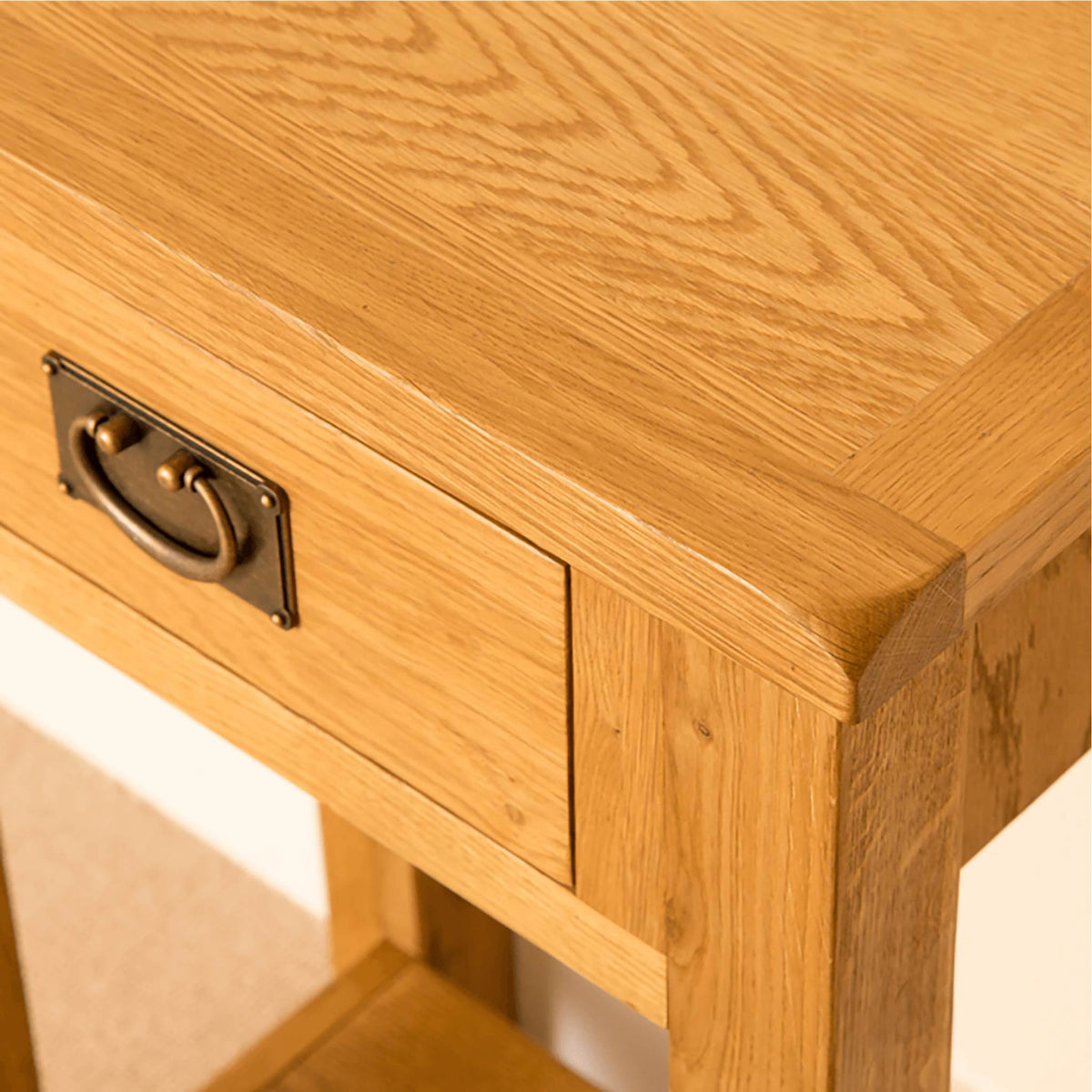Lanner Oak Telephone Table drawer close up view