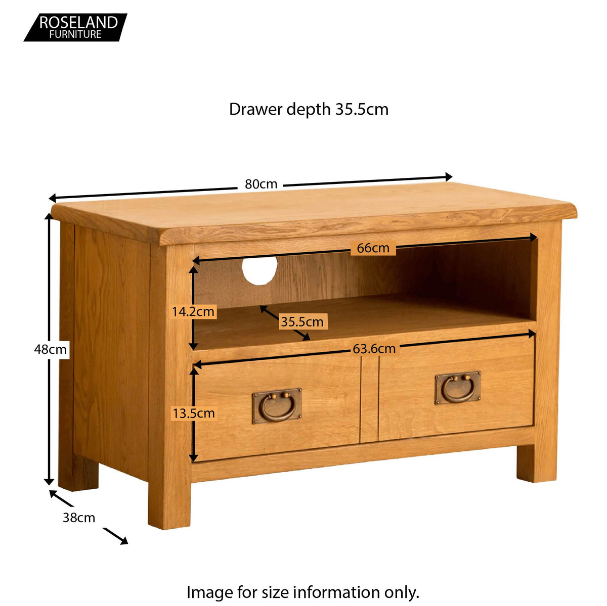 Lanner Oak 80cm TV Stand - Size Guide