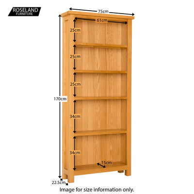 Lanner Oak Large Bookcase - Size Guide