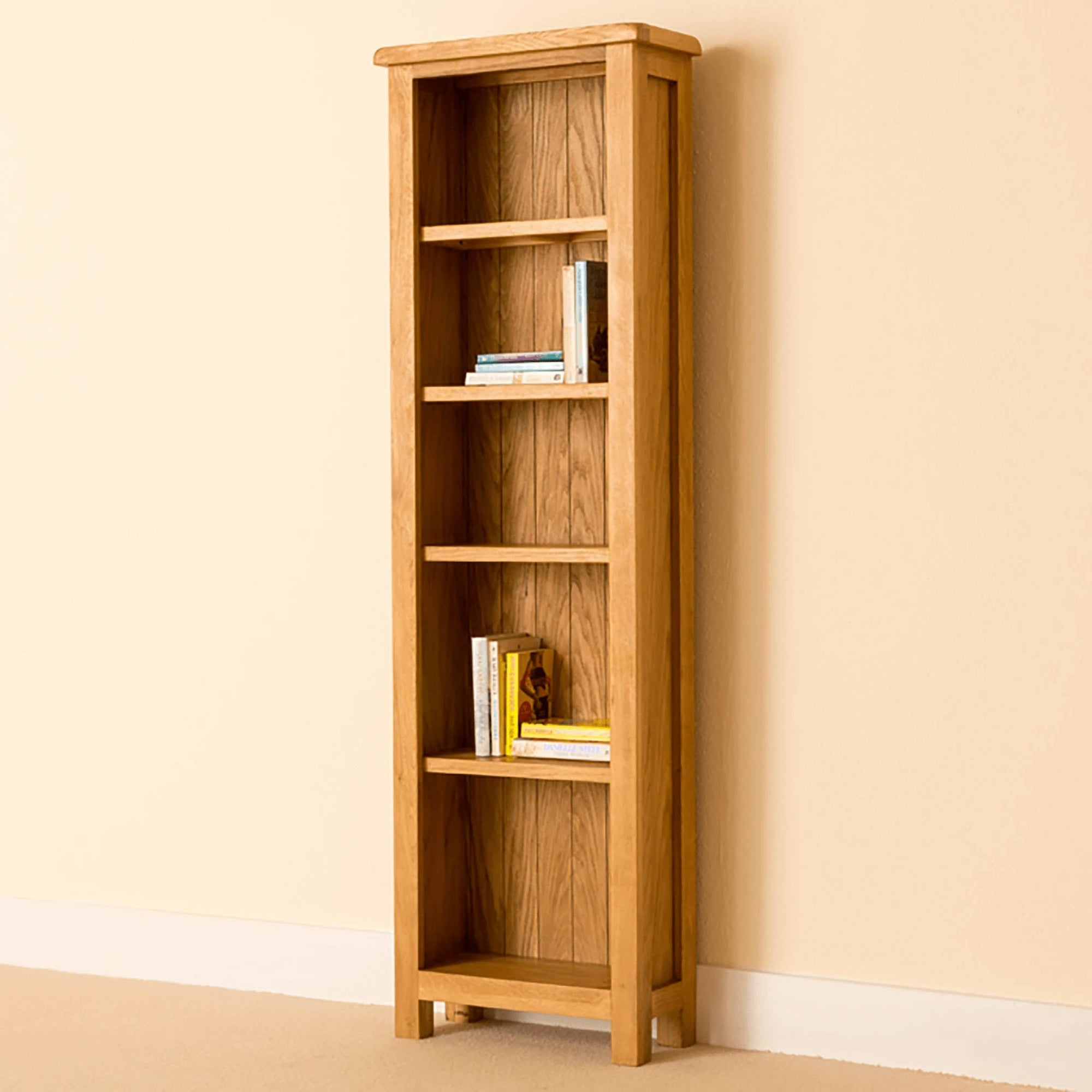 Lanner Oak Narrow Bookcase by Roseland Furniture