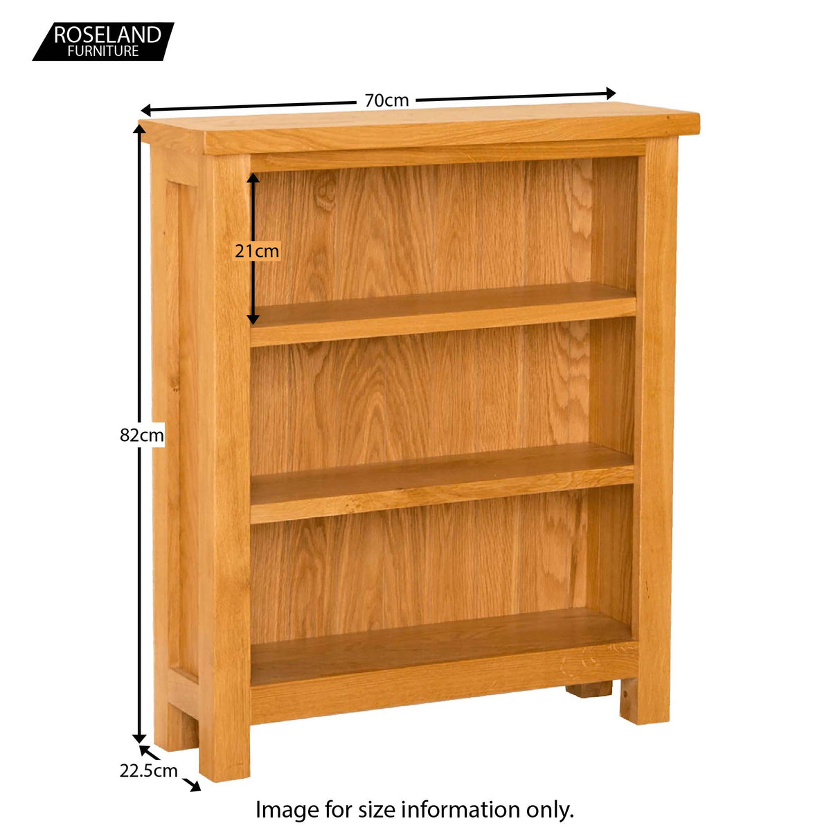 Lanner Oak Small Bookcase - Size Guide