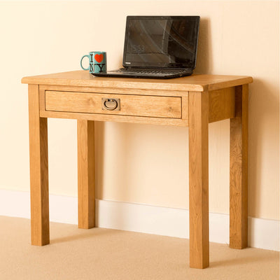 Lanner Oak Desk side view