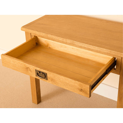 Lanner Oak Desk drawer open view