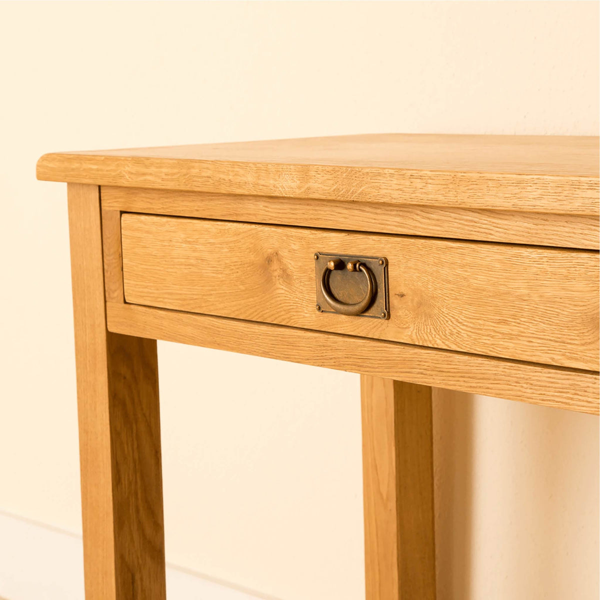 Lanner Oak Desk close up drawer view