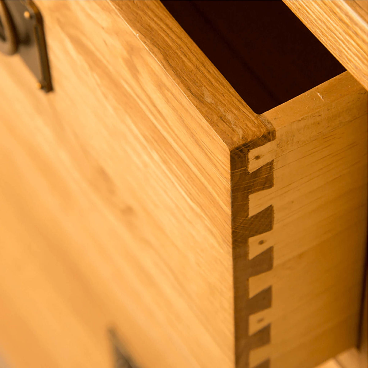 Lanner Oak Mini Sideboard drawer dovetail joint view