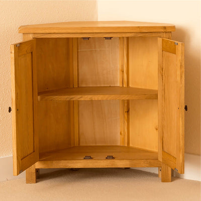Lanner Oak Corner Cupboard open doors view