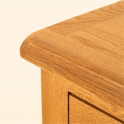 Lanner Oak Corner Cupboard top front corner view