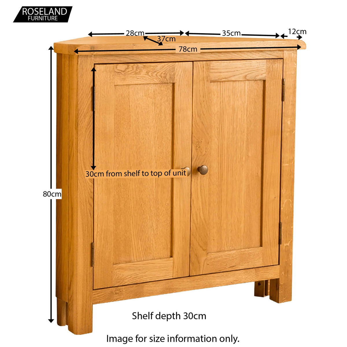 Lanner Oak Corner Cupboard - Size Guide