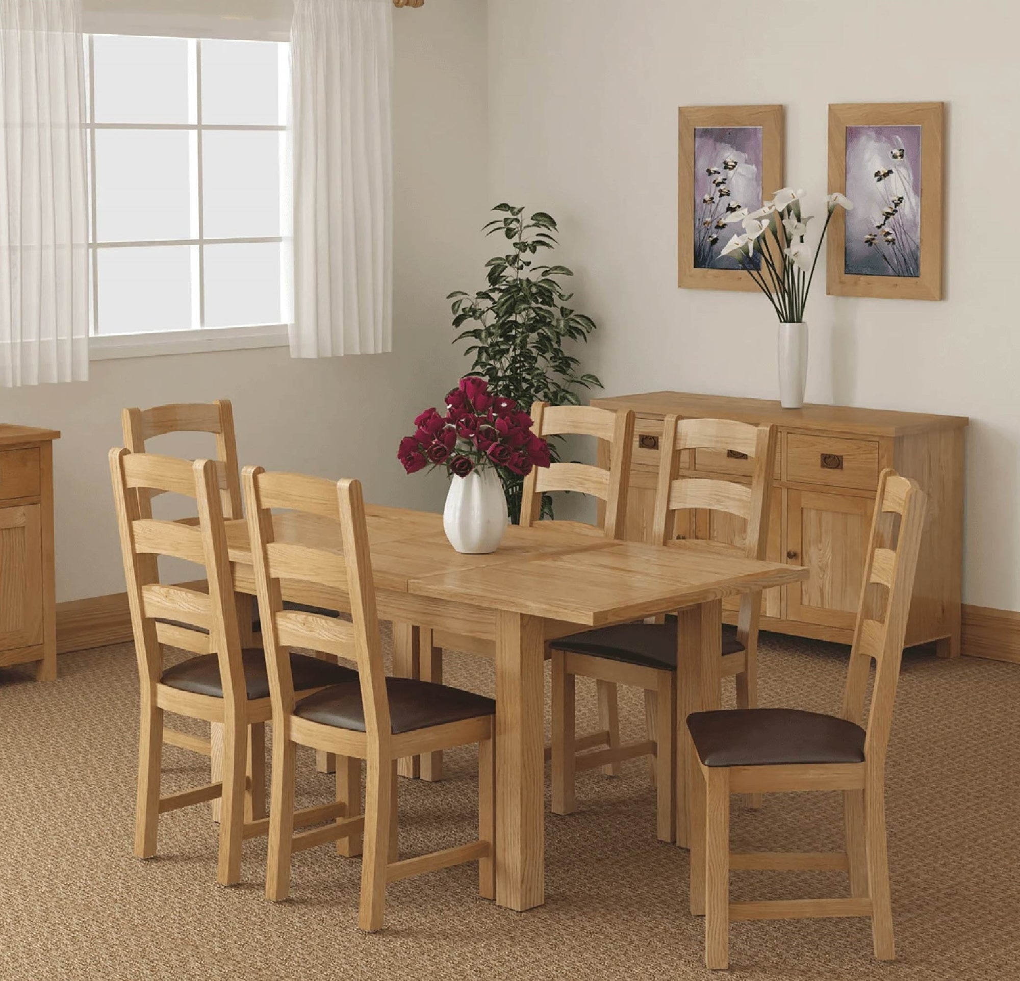 Lanner Oak Compact Extending Table by Roseland Furniture