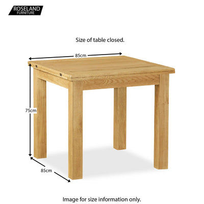 Lanner Oak Square Extending Table - Size Guide of table closed