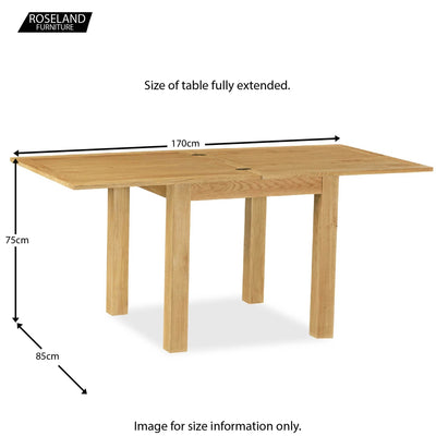 Lanner Oak Square Extending Table - Size Guide of table fully open