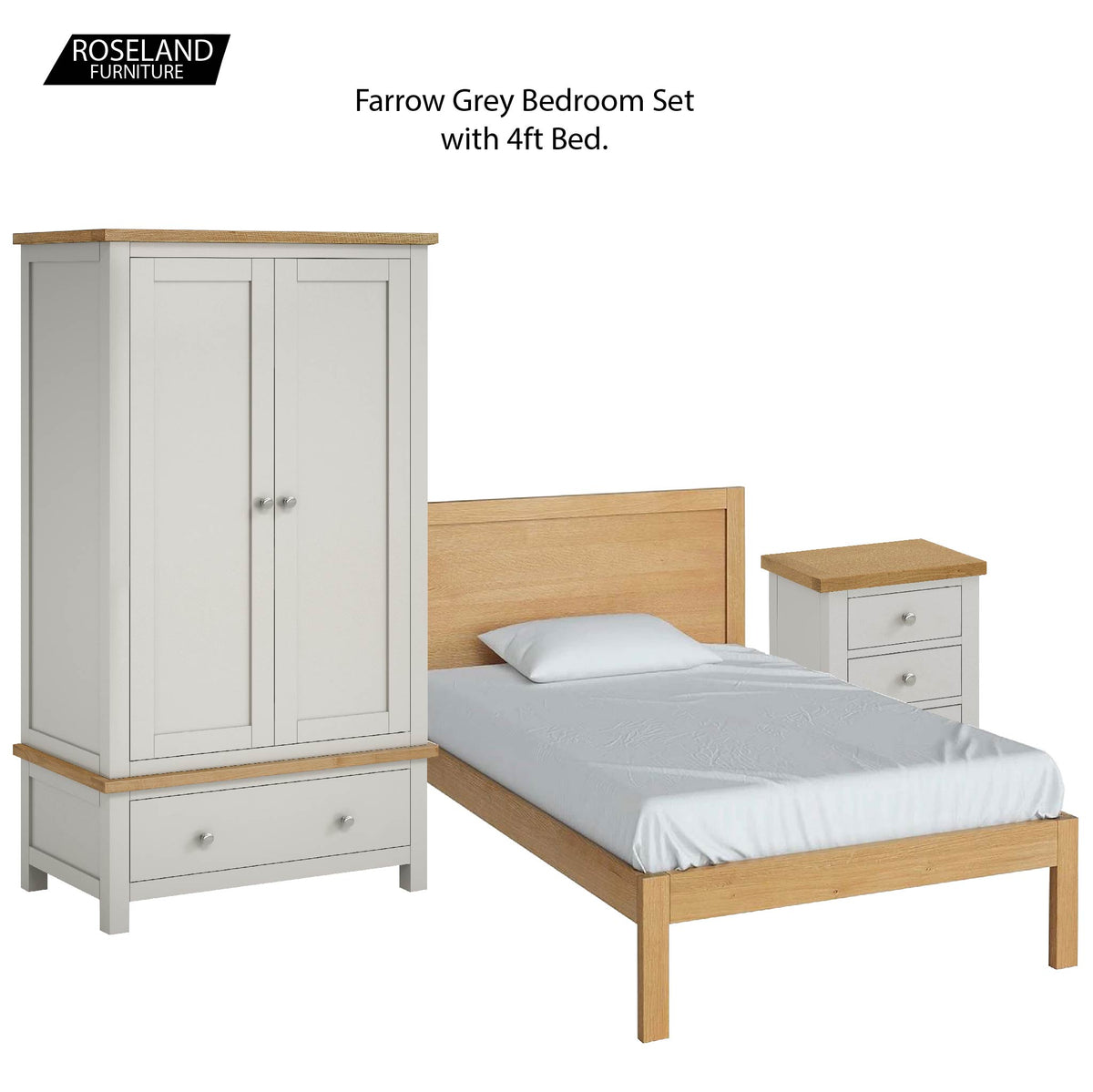Farrow Grey Bedroom Set with 4ft Bed, Wardrobe and Bedside Drawers